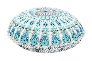 "32"" Round Mandala Tapestry Pillows Meditation Cushion Covers Ottoman Poufs &15"