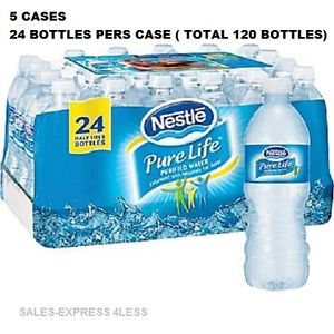 5 CASES Nestle Pure Life Purified Bottled Water, 16.9 oz. 24/case FREE SHIPPING