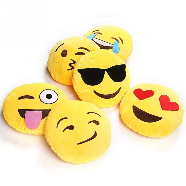 6 Types For Choose Soft Emoji Smiley Emoticon Yellow Round Stuffed Plush Toy Doll Cushion Pillow -ND