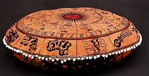 """Astrology Tapestry Indian Floor Pillow Meditation Cushion Cover Ottoman Pouf 32"""""""