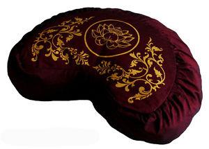 Crescent Meditation Cushion Buckwheat Zafu Pillow Silkscreen Lotus Enlightenment