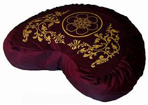 "Crescent Meditation Cushion Zafu Pillow Buckwheat Fill ""Dharma Wheel in Lotus"""