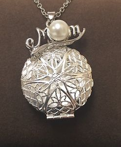 Essential Oil Diffuser Necklace Aromatherapy PEARL LOCKET MOTHER MOM CHARM*