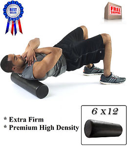 High Density Foam Roller Black Muscle Back Pain Pylates Yoga Massage Extra Firm