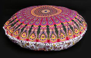 Indian Elephant Mandala Floor Pillow Round Hippie Meditation Cushion Cover Pouf