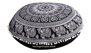 Indian Elephant Mandala Floor Pillow Round Hippie Meditation Cushion Cover Star