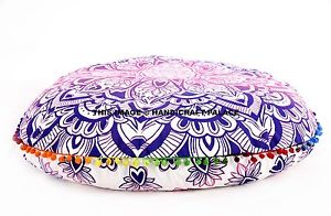 """Indian Large Round Pillow Mandala Tapestry Meditation Floor Cushion Cover 32"""""""