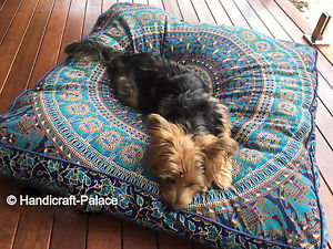 """Indian Mandala Floor Pillow Tapestry Meditation Cushion Cover Dog Bed Square 35"""""""