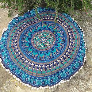 "Indian Mandala Floor Pillows 32"" Round Meditation Cushion Covers Ottoman Poufs"