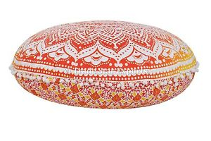 """Large Indian Meditation Floor Pillow Cover 32"""" Mandala Round Cushion with Insert"""