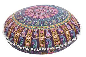 "Large Mandala Art Floor Pillows 32"" Round Meditation Cushion Cover Ottoman Poufs"