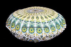 Large Mandala Floor Pillows Round Bohemian Meditation Cushion Cover Ottoman Pouf
