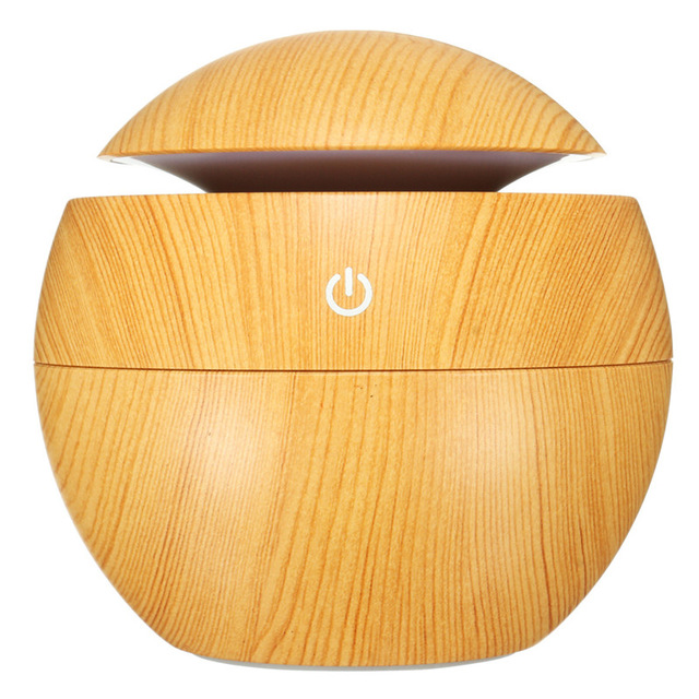 Light Color Wood Grain Mini Household Ball Aromatherapy Humidifier For Indoor And Travel Usage.