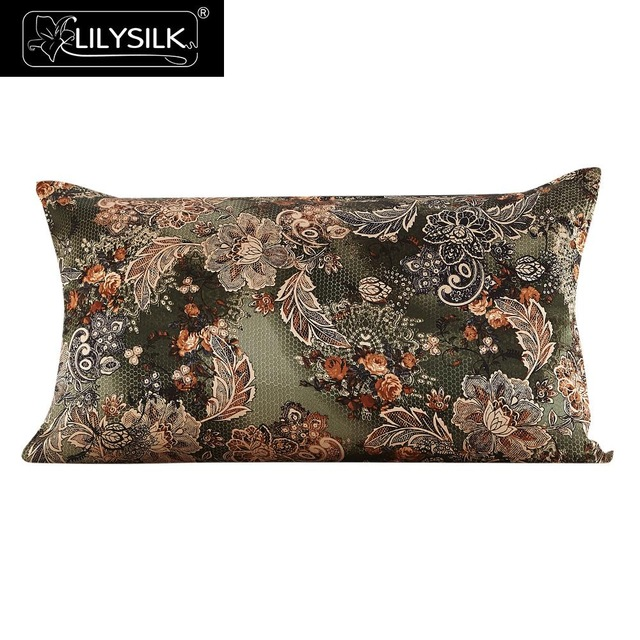 Lilysilk 100% Silk Pillow Cover 16 Momme Green Leaf and Flower 100% Pure Mulberry Silk Free Shipping