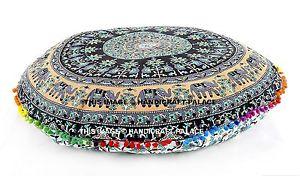 "Mandala Indian Floor Pillows 32"" Round Meditation Cushion Covers Ottoman Poufs"