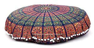 Mandala Indian Handmade Round Floor Cushion Meditation Yoga Pillow Ottoman Pouf