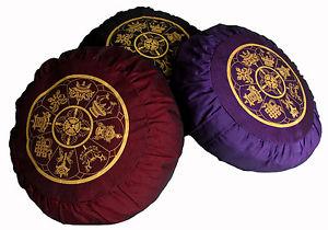 "Meditation Cushion Zafu Pillow Buckwheat Fill Silkscreen ""8 Auspicious Symbols"""