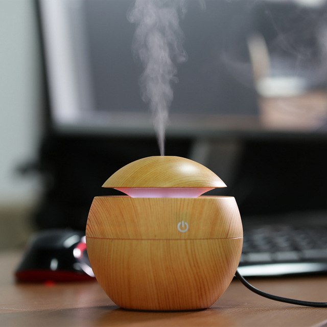 Mini Portable USB Wooden Aromatherapy Air Humidifier Ultrasonic LED Light Essential Oil Aroma Diffuser Home Office Mist Maker