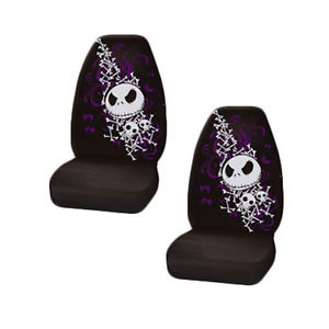New 2 Pcs NBC Nightmare Before Christmas Jack Skellington Bones Seat Covers