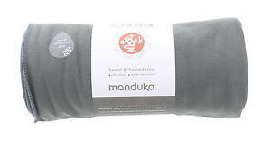 New MANDUKA eQua Yoga Mat Towel Thunder Grey Ultra Plush Super Absorbent