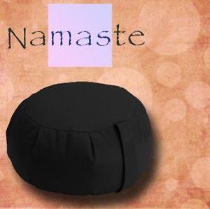 NEW - Stuffed Zafu Yoga Pillow Meditation Cushion - BLACK - MADE in USA