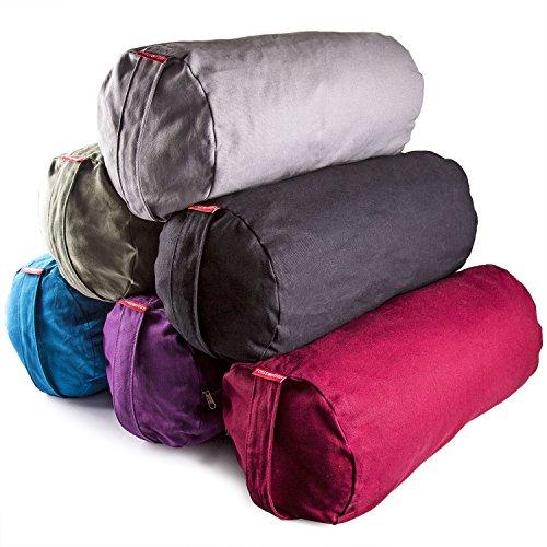 Peace Yoga® Zafu Meditation Yoga Cotton Cylinder Bolster Pillow Cushion - Blue