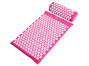 ProSource Acupressure Mat w/Pillow Back Neck Pain Relief Muscle Relaxation Pink