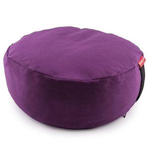 Purple Zafu Meditation Yoga Buckwheat Filled Cotton Bolster Pillow Cushion 2278