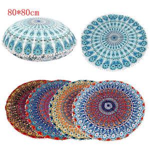 Round Mandala Floor Pillows Round Bohemian Meditation Cushion Cover Ottoman Pouf