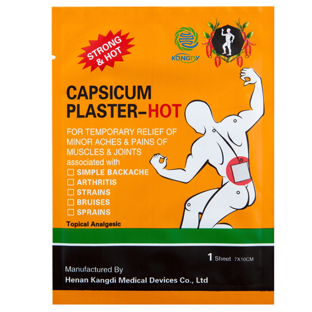With Gifts 20 Pieses/Lot Health Care Hot Capsicum Plaster Joint Pain Reliever 7x10cm Neck Back Pain Relief Patch Body Massage