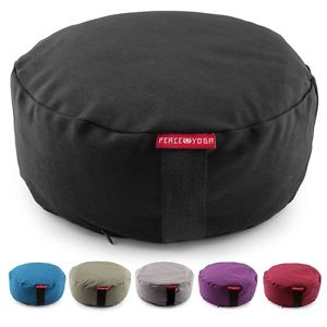 Yoga Meditation Pillow Zafu Cotton Cover Buckwheat Filled Bolster Cushion Black