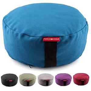 Yoga Zafu Meditation Buckwheat Filled Cotton Bolster Round Pillow Cushion Blue