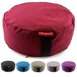 Zafu Meditation Yoga Buckwheat Filled Cotton Pillow Cushion Round Burgundy