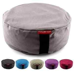 Zafu Meditation Yoga Pillow Buckwheat Filled Cotton Bolster Cushion Grey Round